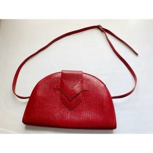 Vtg Paquetage Paris Red Leather Crossbody Purse